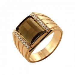 Кольцо-печатка из золота с раухтопазом и фианитами