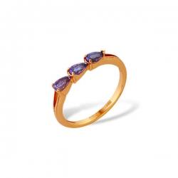 Кольцо из золота 585 пробы с аметистами