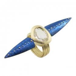 Кольцо из жёлтого золота 585 пробы с кварцем