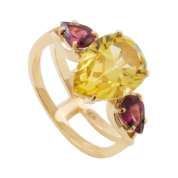 Кольцо из золота 585 пробы с родолитами и цитрином