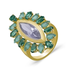 Кольцо из жёлтого золота с кварцем и фианитами