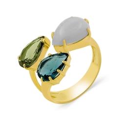 Кольцо из золота с натуральным халцедоном и ювелирными кристаллами