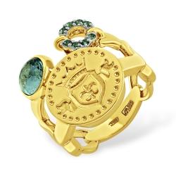 Кольцо из жёлтого золота с натуральным аквамарином