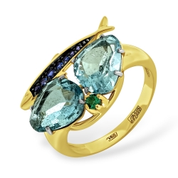Кольцо Рыбка из жёлтого золота с миксом камней