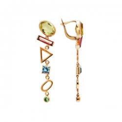 Серьги из золота 585 пробы с аметистами, топазами, хризолитами, цитринами