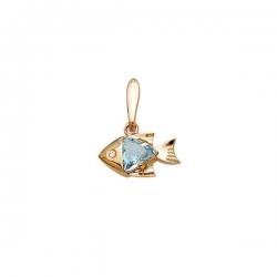 Подвеска Рыбка из золота с топазом и фианитом