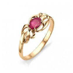 Женское кольцо из красного золота с рубином