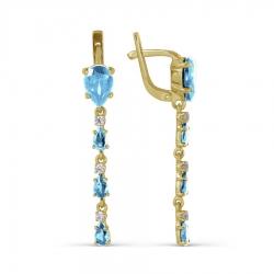 Серьги длинные из желтого золота с топазом и фианитами