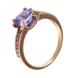Кольцо из розового золота 585 пробы с бриллиантами и танзанитом