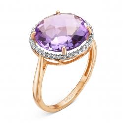 Золотое кольцо c аметистом и бриллиантом