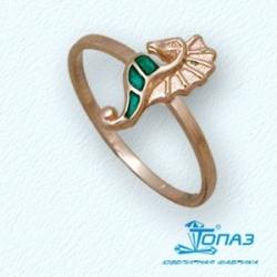 Детское золотое кольцо Морской конек с эмалью