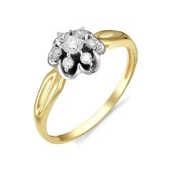 Кольцо Цветок из желтого золота с бриллиантами
