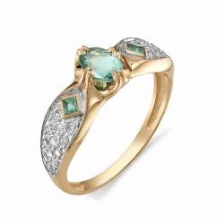 Кольцо из золота с изумрудом и бриллиантом