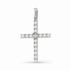 Крестик из белого золота с большими бриллиантами
