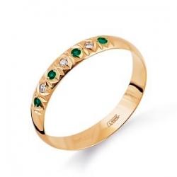 Золотое кольцо обручальное с изумрудом, бриллиантами