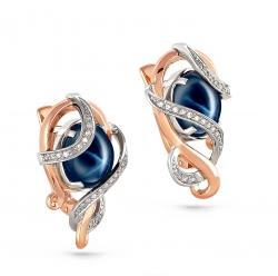 Золотые серьги c звездчатым сапфиром и бриллиантом