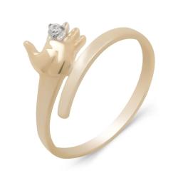 Кольцо Ладошка из золота с фианитом