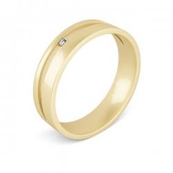 Обручальное кольцо из золота с фианитом Swarovski