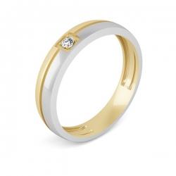 Обручальное кольцо из красного золота с фианитом