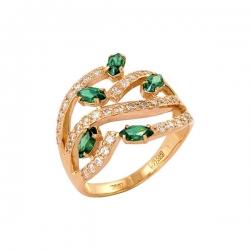 Кольцо из золота 585 пробы с алпанитами и фианитами
