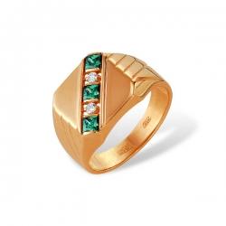Кольцо-печатка из золота с корундами и фианитами