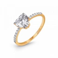 Кольцо из золота с фианитом в форме сердца