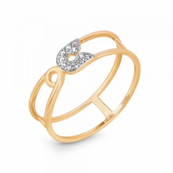 Кольцо в виде булавки из золота с фианитами