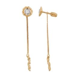 Серьги-цепочки в виде цветка из красного золота с фианитом