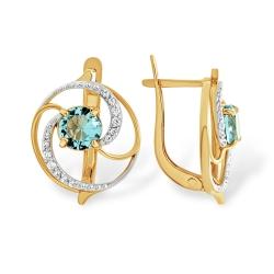 Серьги из золота с голубым кварцем и фианитами