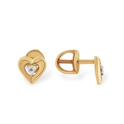 Серьги-пусеты с сердцем из золота с фианитами