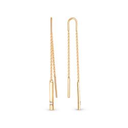 Серьги-продёвки Лучезарная из золота с фианитами