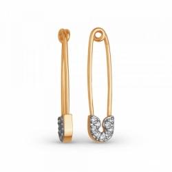Серьги-булавки из золота с фианитами