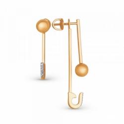 Асимметричные серьги из золота с фианитами