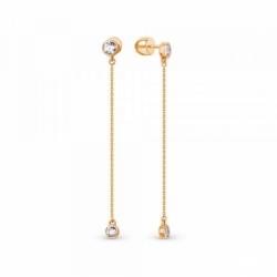 Серьги-пусеты из золота с фианитами на цепочках