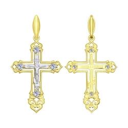 Крестик из комбинированного золота с фианитом