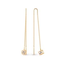 Серьги-цепочки из золота с фианитами Swarovski