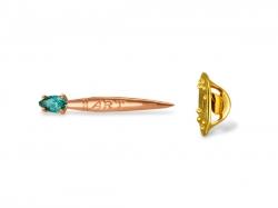 Значок в форме кисточки из золота с фианитом