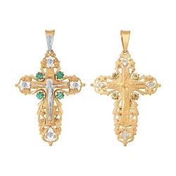 Мужской крестик из золота c зелёными фианитами SOKOLOV