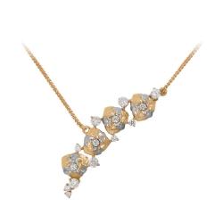 Колье в виде цветов из золота с фианитами