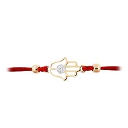 Браслет Рука из красного золота с фианитом и красным шнуром