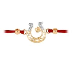 Браслет Подкова из красного золота с фианитами и красным шнуром