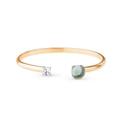 Жёсткий браслет из золота с зелёным кварцем и фианитом