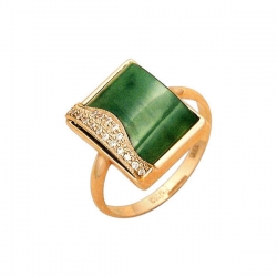Кольцо из золота 585 пробы с нефритом и фианитами