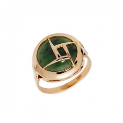 Кольцо из золота 585 пробы с нефритом