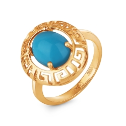 Кольцо из золота 585 пробы с бирюзой