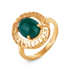 Кольцо из золота 585 пробы с хризопразом