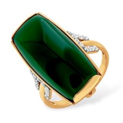 Кольцо из золота 585 пробы с фианитами и хризопразом