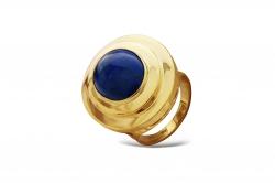 Эксклюзивное кольцо из жёлтого золота с лазуритом