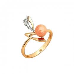 Кольцо из золота 585 пробы с кораллом и фианитами