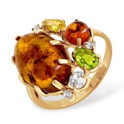 Кольцо из золота с янтарём, алпанитом и фианитами